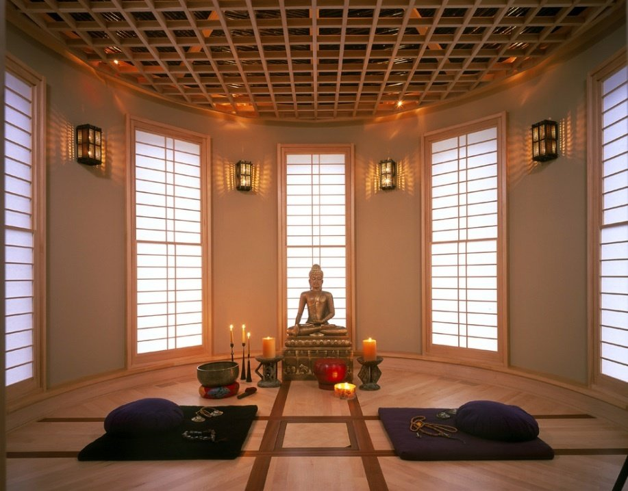 Living Room, Medium Hardwood Floor, and Wall Lighting  Photo 4 of 7 in 7 Tips For Creating Your Own Home Meditation Zone