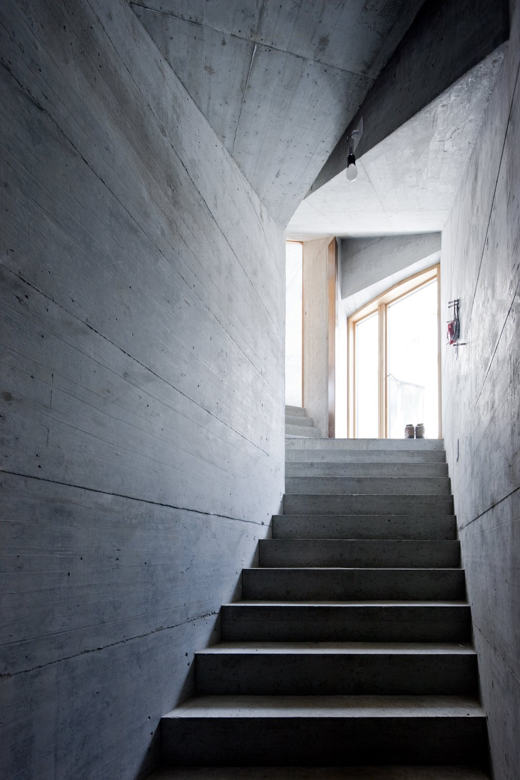 Staircase and Concrete Tread  Photos from Stay in a Swiss Vacation Home That's Literally Inside a Mountain