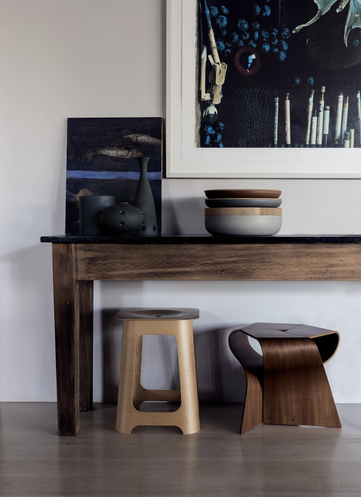 Living Room, Stools, Console Tables, and Light Hardwood Floor  Photo 12 of 13 in Stay in a Riverside Vacation Home That Embraces the Australian Bush