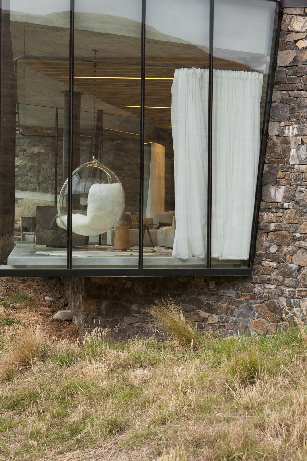 Windows, Metal, and Picture Window Type  Photo 8 of 10 in Stay at a Stone-and-Glass Retreat in a Remote New Zealand Bay