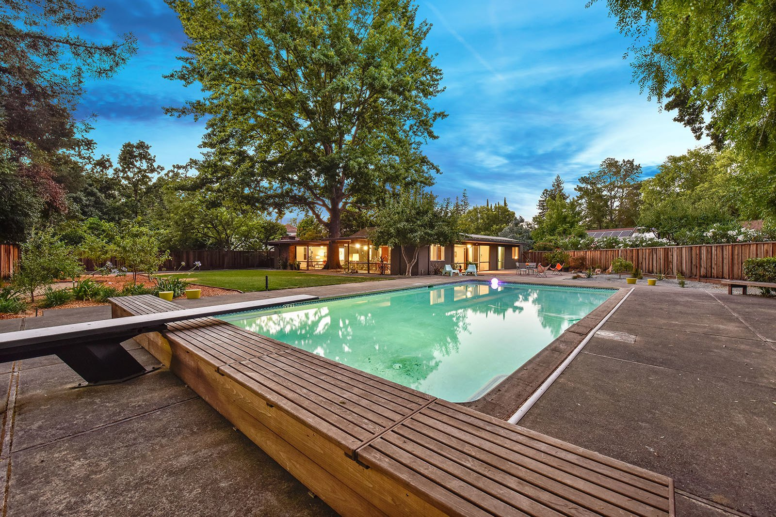Outdoor, Large Pools, Tubs, Shower, and Concrete Patio, Porch, Deck  Photo 14 of 15 in An Enormous Bay Area Eichler Asks $1.45M