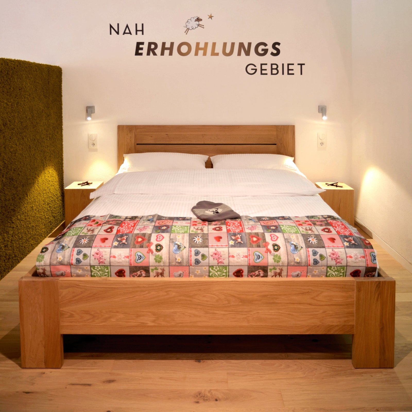 Bedroom, Bed, Wall Lighting, Night Stands, and Light Hardwood Floor  Refugium Betzenstein from Escape to a Bio-Passive Vacation Refuge in a Bavarian Nature Park