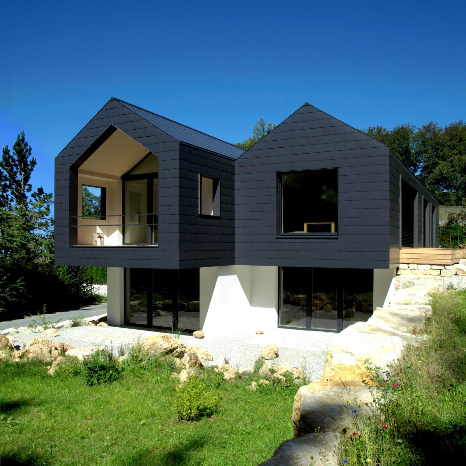 Exterior, Gable RoofLine, Metal Siding Material, and House Building Type  Refugium Betzenstein from Escape to a Bio-Passive Vacation Refuge in a Bavarian Nature Park
