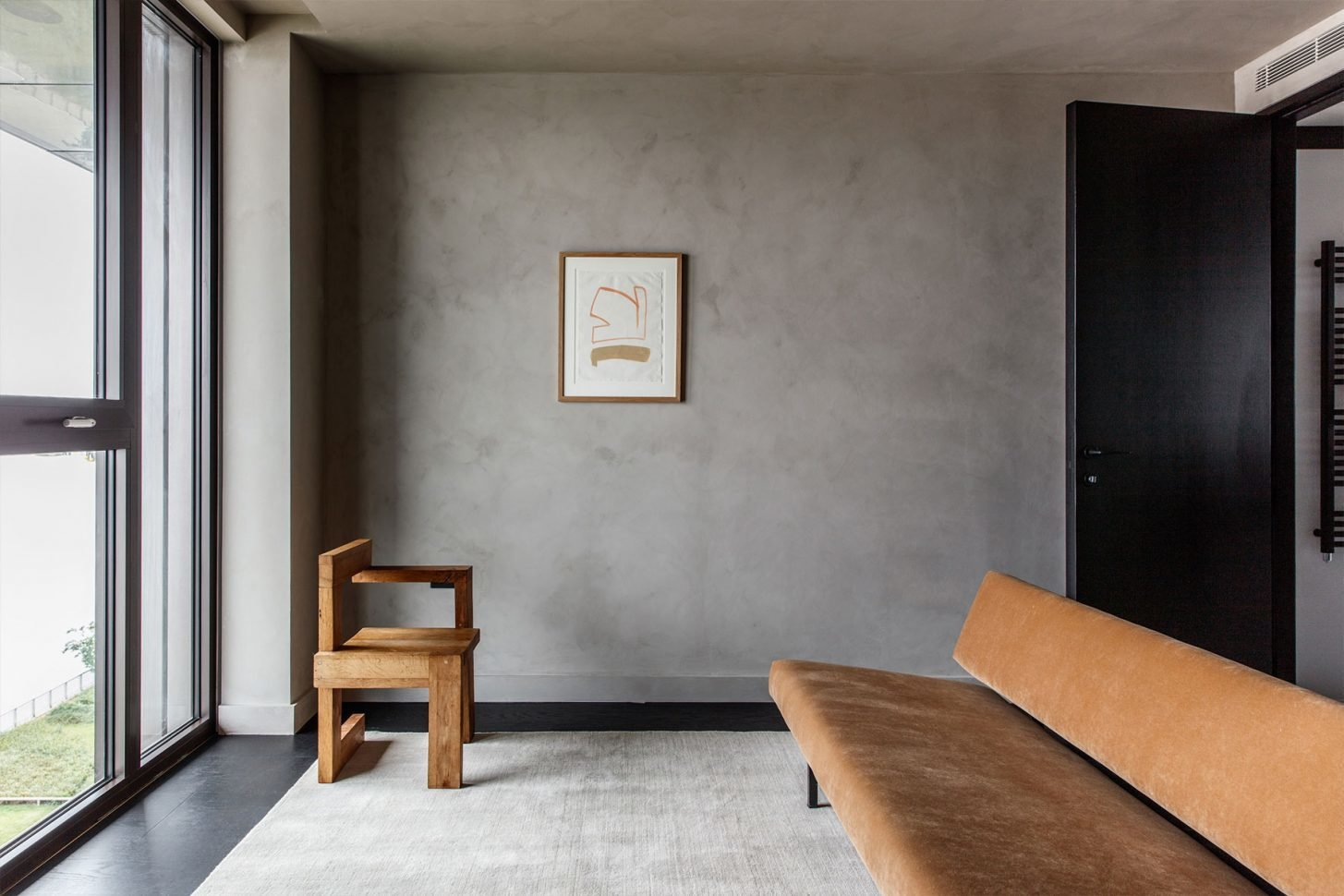 Living Room, Sofa, Dark Hardwood Floor, and Chair  Photo 4 of 13 in For Just Under $2 Million, You Could Live in a London Penthouse Outfitted by Cereal Magazine