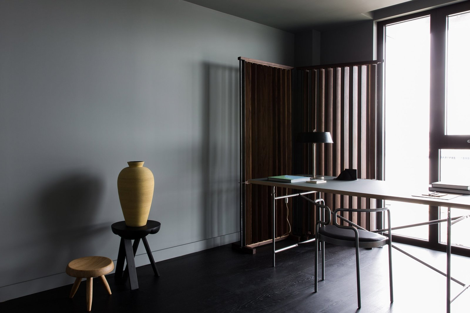 Office, Study Room Type, Lamps, Chair, Desk, and Dark Hardwood Floor  Photo 7 of 13 in For Just Under $2 Million, You Could Live in a London Penthouse Outfitted by Cereal Magazine
