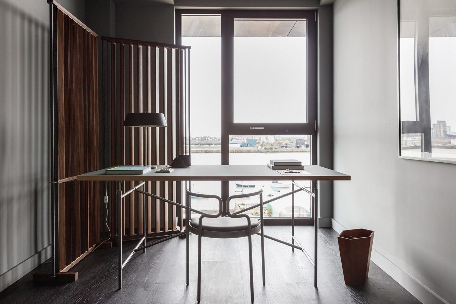 Office, Chair, Lamps, Study Room Type, Desk, and Dark Hardwood Floor  Photo 9 of 13 in For Just Under $2 Million, You Could Live in a London Penthouse Outfitted by Cereal Magazine