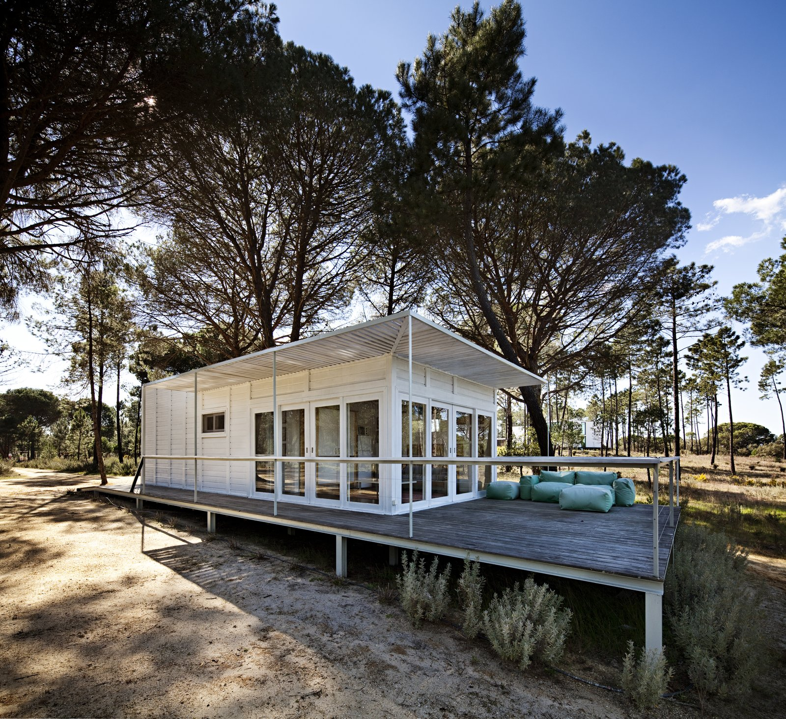 Exterior, Cabin Building Type, and Flat RoofLine  Photo 14 of 15 in Escape to a Light-Filled, Beach-Meets-Forest Retreat in Portugal