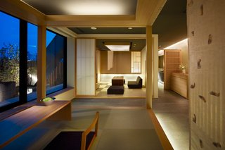 """This Kyoto hotel has modern rooms that are inspired by """"machiyas""""—or traditional wooden townhouse homes that are typically found in Kyoto—and include tatami beds and aromatic cypress bathtubs."""