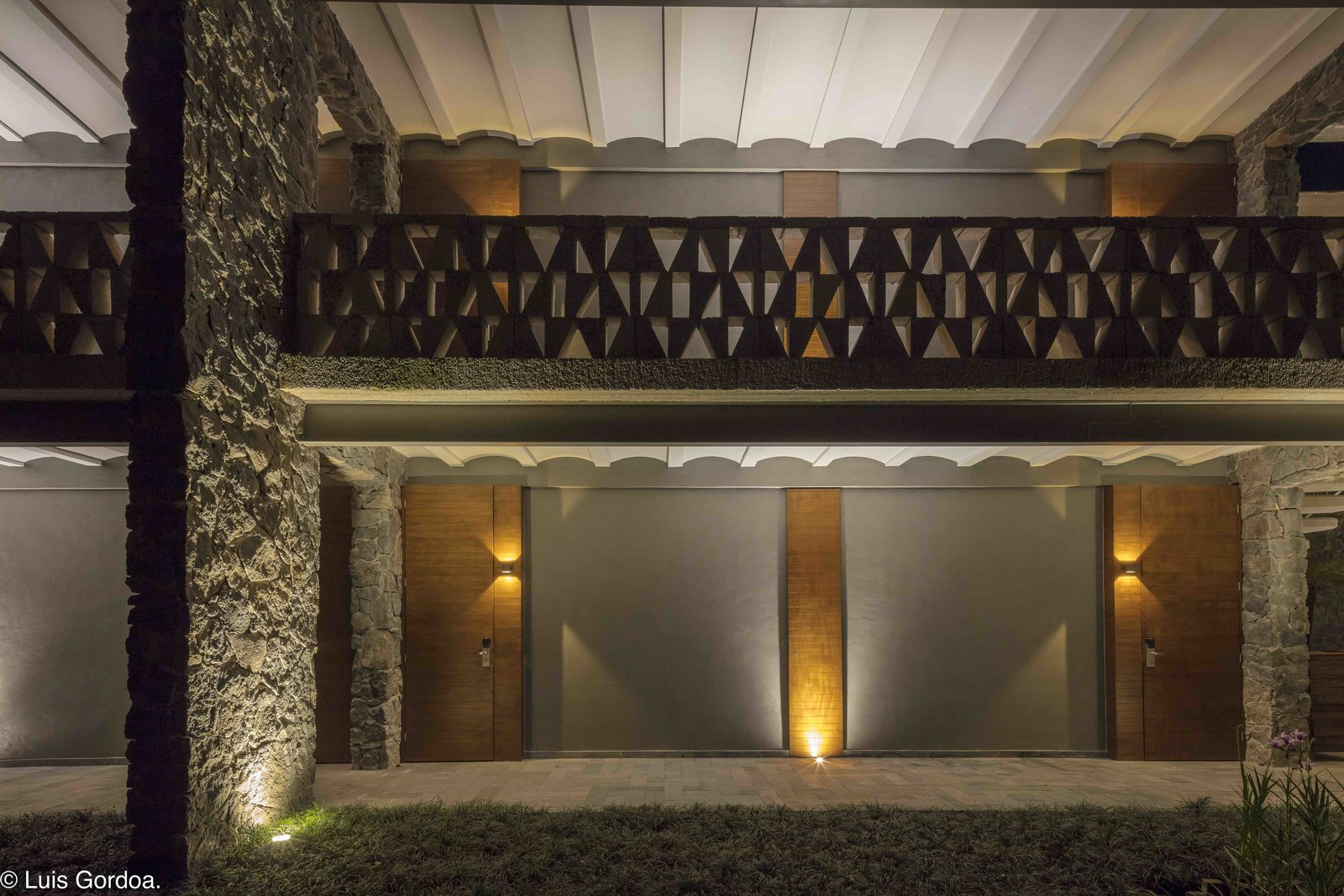Exterior, Stone Siding Material, Concrete Siding Material, and Wood Siding Material The structural combination of concrete and regionally-sourced stone is reflective of Mexican architecture and alludes to the monuments of the ancient Aztecs.  Photo 4 of 12 in A New Hotel in Morelos Combines Local Mexican Elements With Brutalist Architecture
