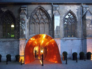 "This renovated 15th-century monastery of the ""Crutched Friars"" is now the 60-room Kruisherenhotel Maastricht, a luxurious and contemporary hotel where guests can check in or dine at a site that used to be the monastery's old church."