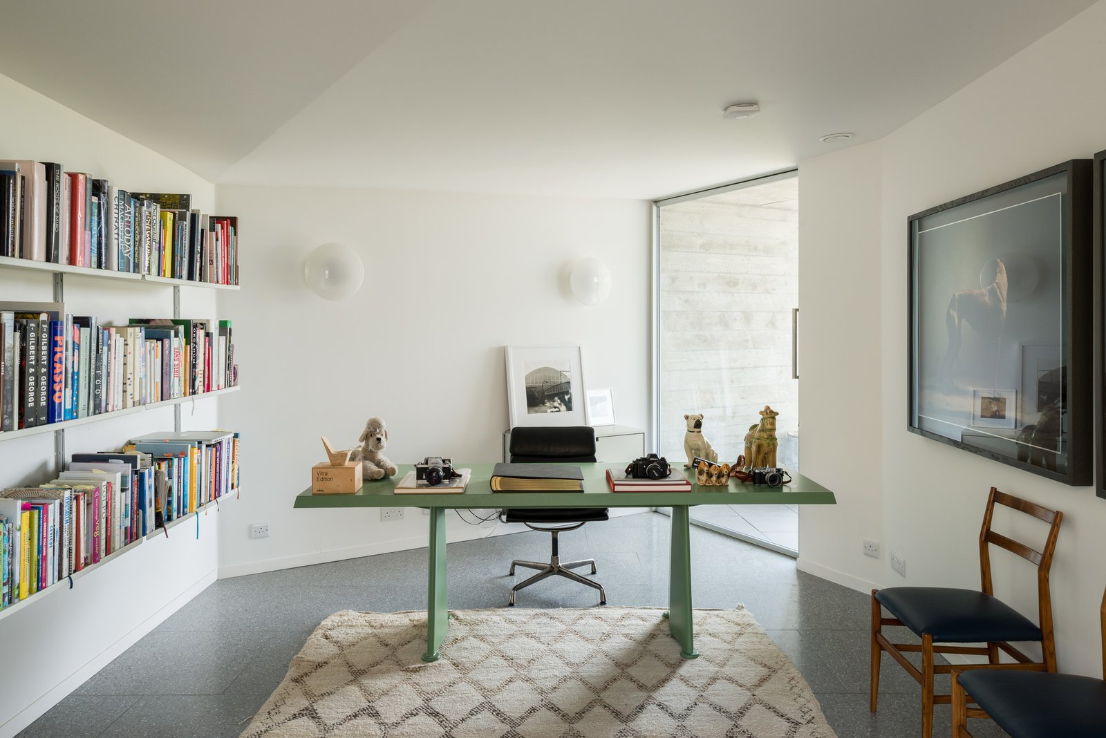 Office, Shelves, Library, Chair, Study, Desk, and Terrazzo  Office Terrazzo Photos from Explore a Prefabricated House For Sale in England That's Clad With Cor-Ten Steel
