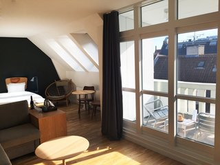 With slate-colored walls, plenty of leather and wood in the communal areas, industrial-style decor, and bedrooms with unusual reading-friendly headboards, Hotel SP34 lets you enjoy Copenhagen in style.