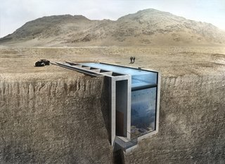 Laertis Antonios Ando Vassiliou of LAAV Architects is working closely with ARUP to build Casa Brutale, a daring, fantastical underground house in Beirut, Lebanon, that's wedged into the edge of a cliff and features a pool on the cliff's plateau.