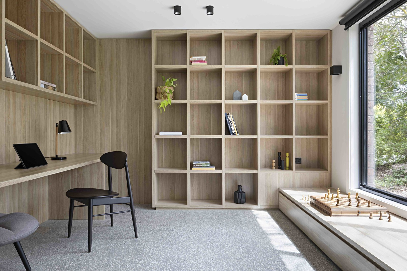 Office, Study, Library, Chair, Bookcase, Lamps, Shelves, Storage, and Desk  Best Office Lamps Library Photos from A Remodel Turns a Dark and Choppy House in Melbourne Into a Bright, Flexible Family Home