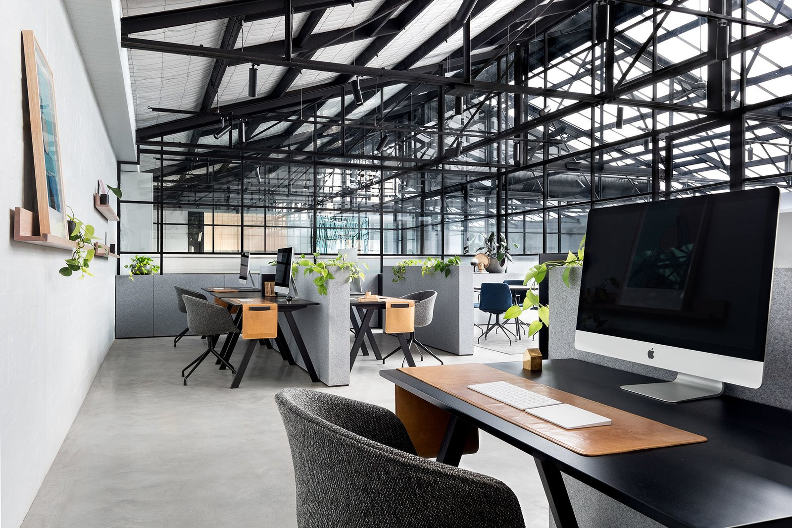 Office, Study Room Type, Chair, Shelves, Concrete Floor, and Desk  Photo 9 of 14 in An Art Deco Warehouse in Melbourne Is Converted Into a Shared Office Space