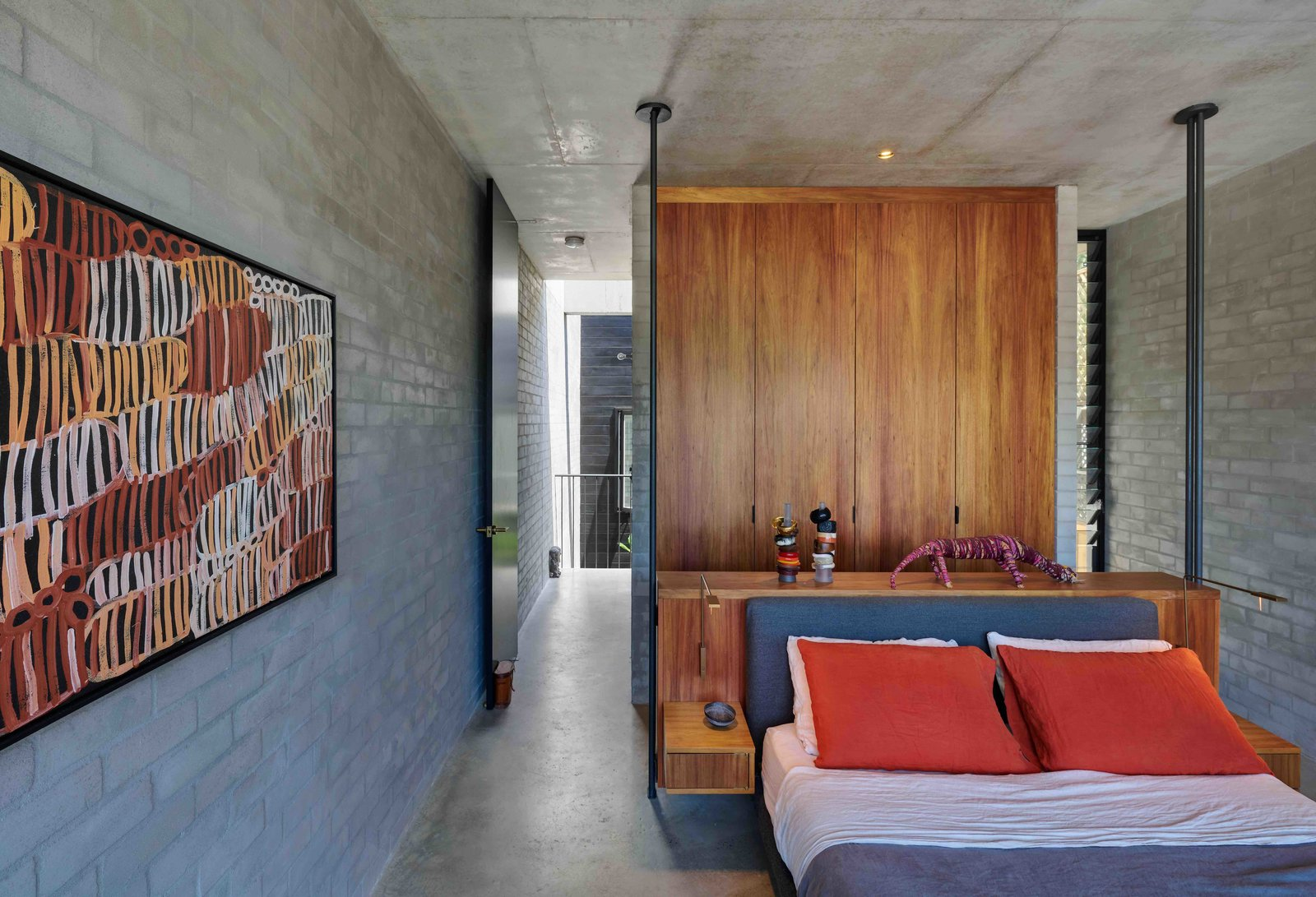 Bedroom, Bed, Storage, Wardrobe, Concrete, Ceiling, Recessed, and Wall  Best Bedroom Bed Concrete Wall Wardrobe Photos from Find Out How Light and Precious Outdoor Space Were Introduced to an Old Australian Cottage