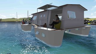 French company Farea manufactures floating homes that are certified as boats. This is important in France, as it means the houses are allowed in lakes, lagoons, and at sea. They're about 915 square feet each and come with five twin cabins, three terraces, and a kitchen. The structures can produce their own water and electricity and are packaged in a 40-foot-long transportable container for international shipments.