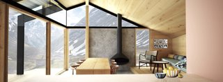 7 Prefabs Set in Nature - Photo 3 of 7 - Designed to adapt to a variety of weather conditions, Gapahuk, a prefab cabin designed by Norwegian architecture firm Snøhetta, has a twisted roof that folds down on one side to offer wind protection, or tilts up on the other side to capture more sunlight. It's perfect for enjoying the dramatic natural landscapes of the Norwegian wilderness.