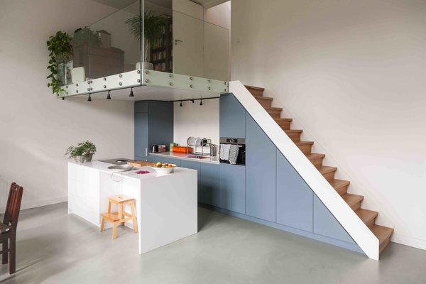 Kitchen, Wall Oven, Colorful, Track, and Cooktops  Best Kitchen Track Colorful Photos from An Old Amsterdam School Is Converted Into 10 Apartments