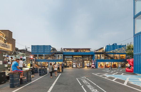 Common Ground is a dynamic mall in Seoul that's made out of 200 blue stacked prefabricated container modules. The 57,048-square-foot building, which took only five months to construct, is home to a variety of retail stores and food-and-beverage outlets that frequently draw a lively crowd.
