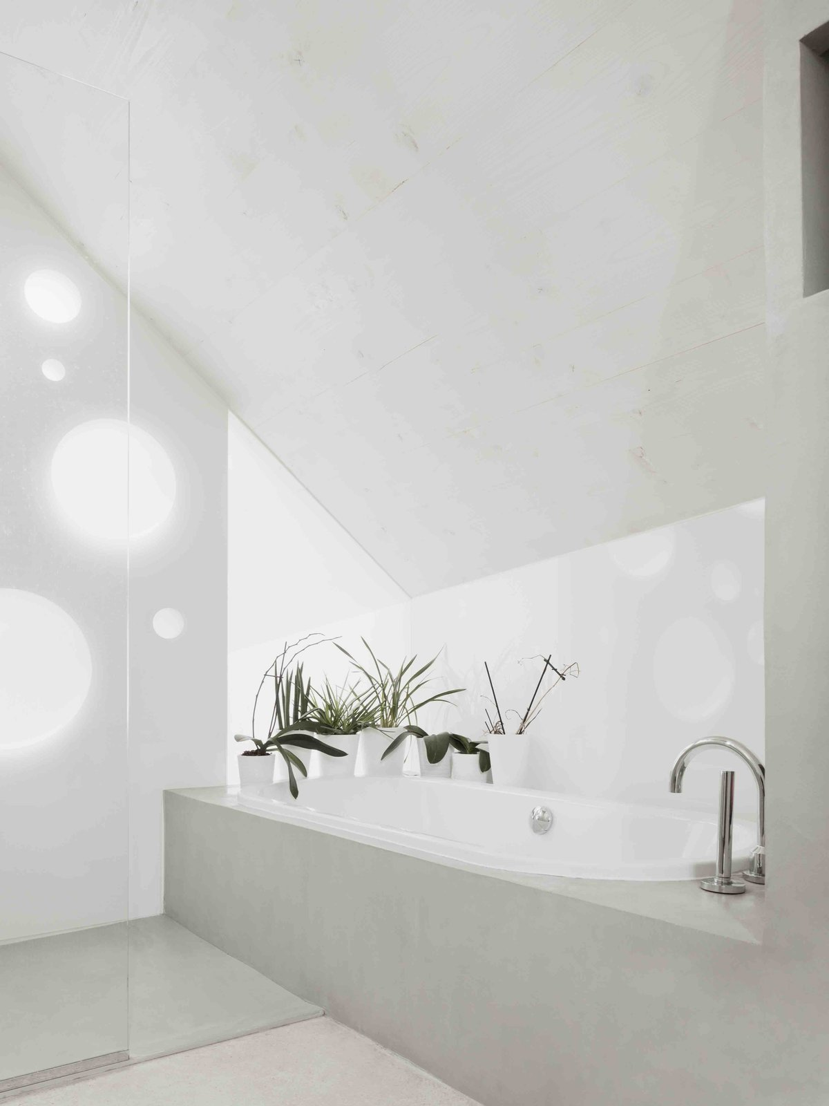 Bath, Drop In, and Wall  Best Bath Wall Drop In Photos from A Prefab House Near Paris Is Designed to Be Bright and Open