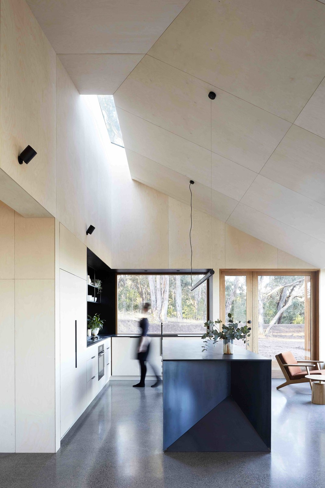 Kitchen, Open, Wall, Pendant, Wall Oven, Concrete, and Wood  Best Kitchen Concrete Wood Wall Photos from A Bushland Home in Melbourne That's Divided Between Two Pavilions