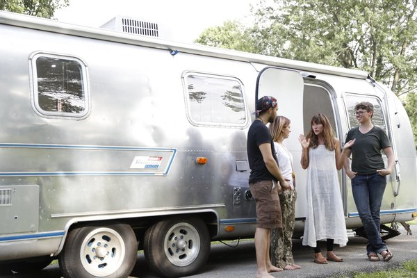 Kate Oliver and partner Ellen Prasse turned a 1976 Sovereign Airstream RV into a bright and cozy home, and used it on their six-month adventure to places like Alaska and the Yukon Territory. They loved mobile living so much that they now operate their own RV renovation business—The Modern Caravan.