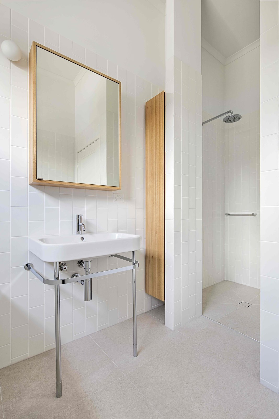 Bath, Pedestal, Open, Subway Tile, and Wall  Best Bath Pedestal Open Photos from 2 New Gable Roofs Brighten Up an Edwardian Cottage in Melbourne