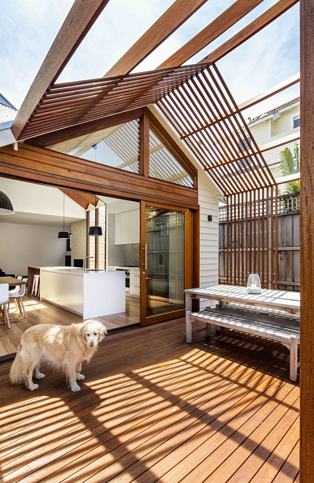 Outdoor, Wood, Vertical, Decking, and Wood  Best Outdoor Decking Vertical Photos from 2 New Gable Roofs Brighten Up an Edwardian Cottage in Melbourne