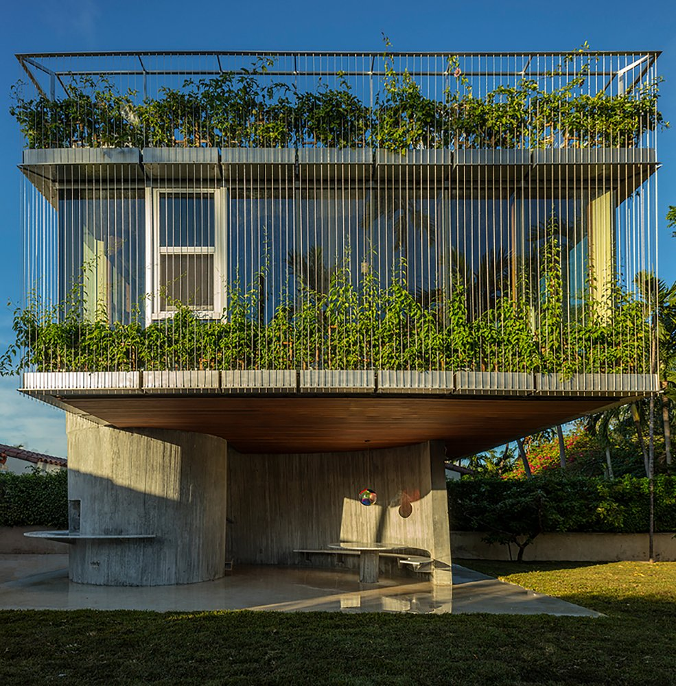 Exterior, Metal Siding Material, Concrete Siding Material, and Green Roof Material The second level of this dining, bedroom and sun deck extension in Miami is clad in vine-covered metal trellises that provides the bedroom and bathroom with privacy, while bringing plenty of sunshine during the day.  Photo 18 of 19 in 9 Best Homes With Interesting Screened Facades