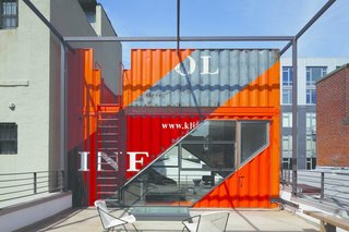 As part of the renovation and expansion of an existing two-story home in Brooklyn, which used to be a 1930s carriage house, LOT-EK created a rooftop extension made of colorful, stacked shipping containers.