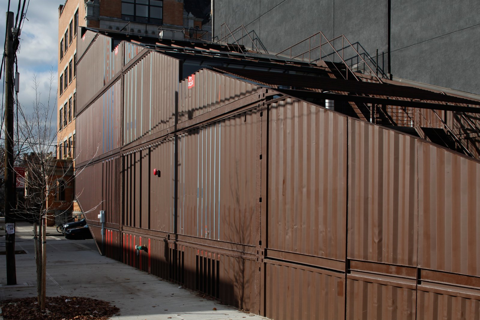 Exterior, Metal Siding Material, Shipping Container Building Type, and House Building Type  Photo 4 of 13 in An Amazing Home in Brooklyn Made Out of 21 Shipping Containers