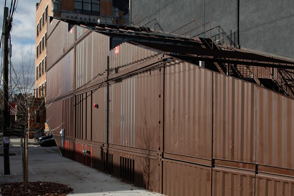 Exterior, Metal Siding Material, and House Building Type  Photo 4 of 13 in An Amazing Home in Brooklyn Made Out of 21 Shipping Containers
