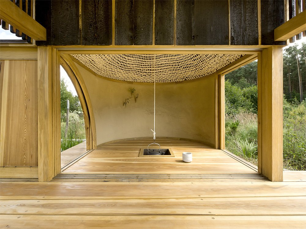 Living Room and Light Hardwood Floor  Photo 3 of 13 in 6 Tiny Outdoor Pavilions Inspired by Japanese Tearooms