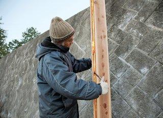 Japanese architect Terunobu Fujimori chars Japanese cedar boards.