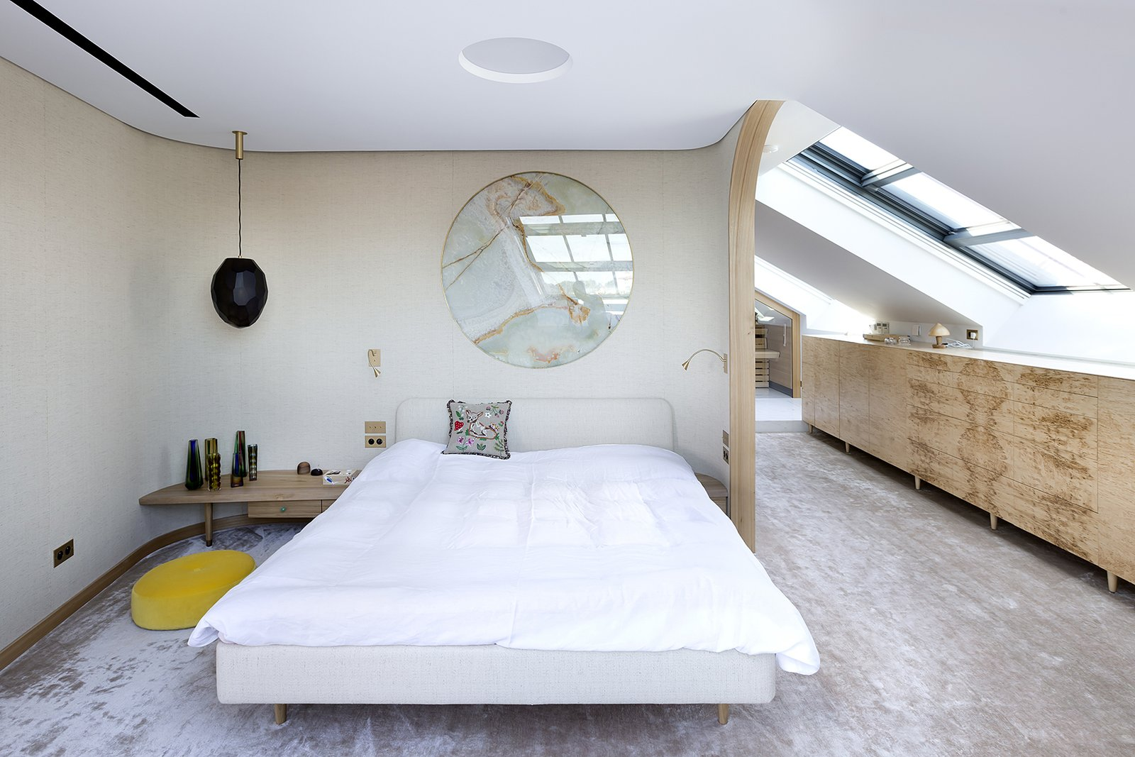 Bedroom, Pendant Lighting, Wall Lighting, Bed, and Night Stands  Photo 4 of 18 in A Dreamy Loft in Prague With Castle Views and an Onyx Moon