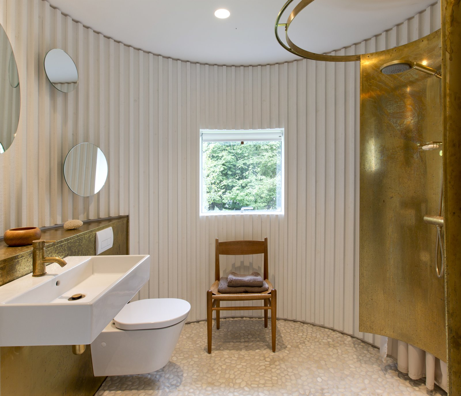 Bath, Metal, Wall Mount, Open, Recessed, and One Piece  Bath One Piece Recessed Metal Photos from Stay in This Danish Vacation Home Made Up of 9 Log-Clad Cylinders