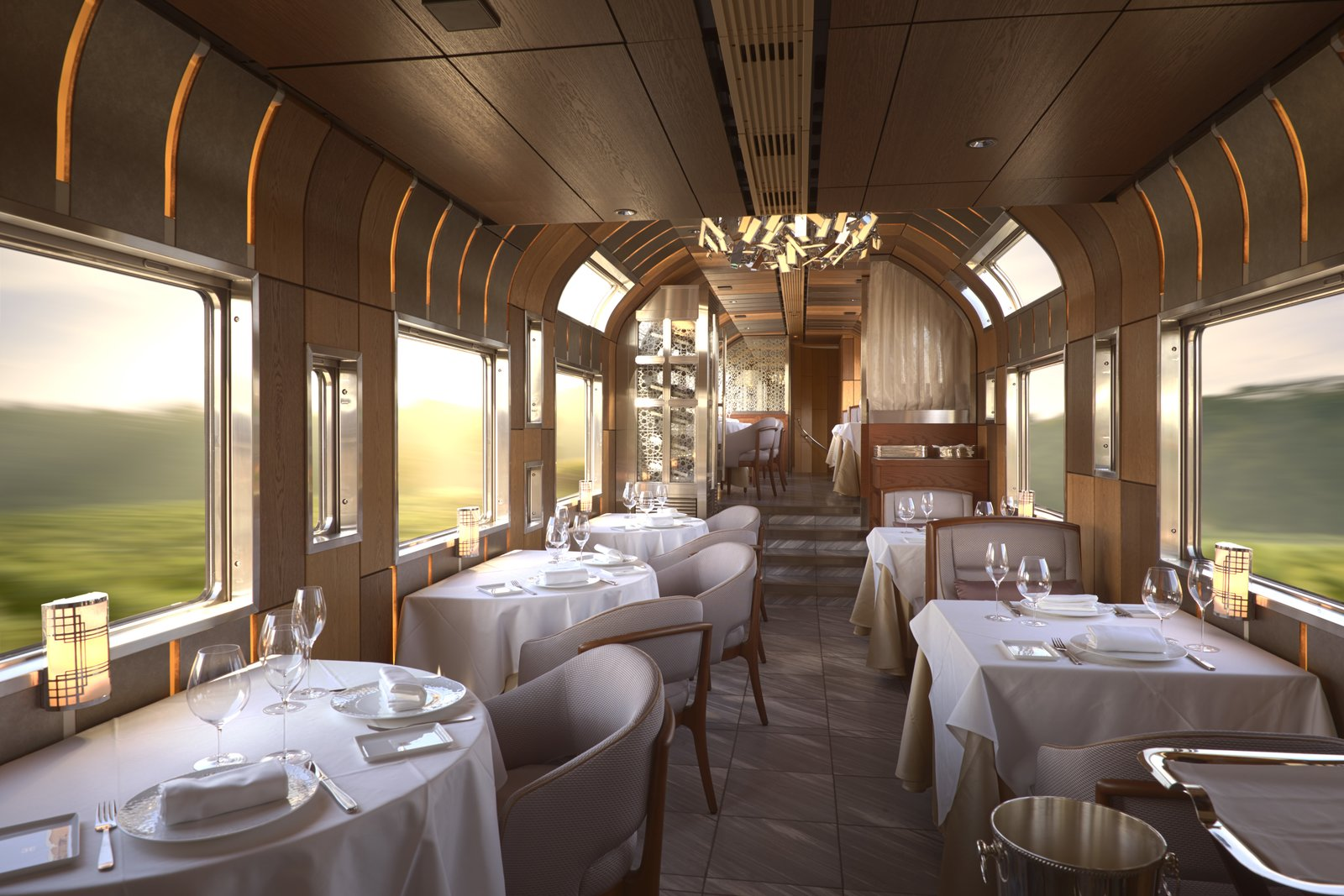 Dining Room, Chair, Table, Pendant Lighting, Ceiling Lighting, and Recessed Lighting  Photo 10 of 14 in Journey Through Eastern Japan on a Luxury Sleeper Train