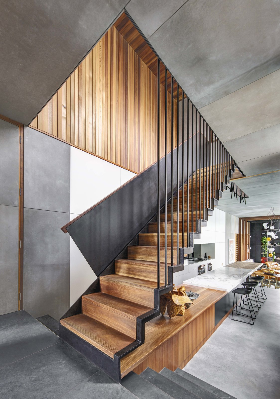 Staircase, Wood Tread, and Metal Railing  Photo 7 of 19 in Living Screens Conceal a North Bondi Beach House and a Semi-Indoor Pool