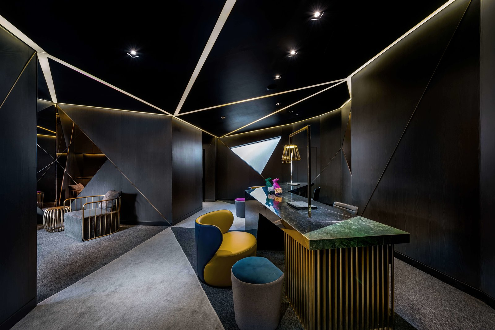 Office, Desk, Carpet Floor, and Chair  Vue Hotel Hou Hai from A Hotel in Beijing Fuses Chinese History With Cosmopolitan Style