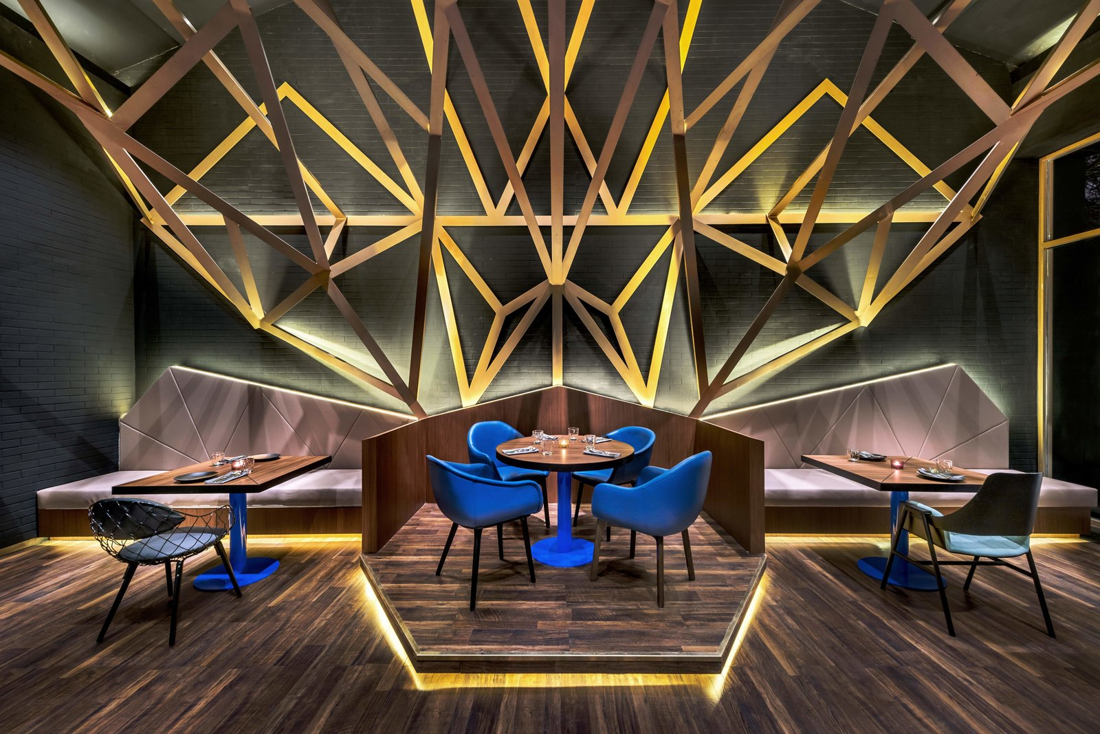 Dining Room, Chair, Wall Lighting, Dark Hardwood Floor, Floor Lighting, and Table  Vue Hotel Hou Hai from A Hotel in Beijing Fuses Chinese History With Cosmopolitan Style