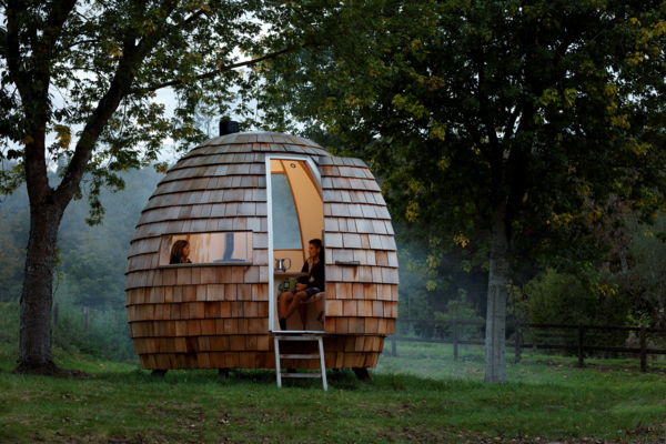 Exterior, Cabin Building Type, Prefab Building Type, Dome RoofLine, and Wood Siding Material  Photo 16 of 16 in You Can Buy Your Very Own Prefabricated Escape Pod