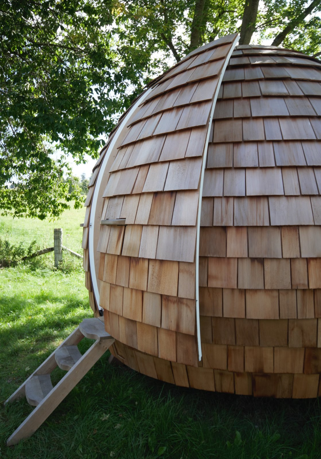 Exterior, Prefab Building Type, Cabin Building Type, Wood Siding Material, and Dome RoofLine  Photo 9 of 16 in You Can Buy Your Very Own Prefabricated Escape Pod