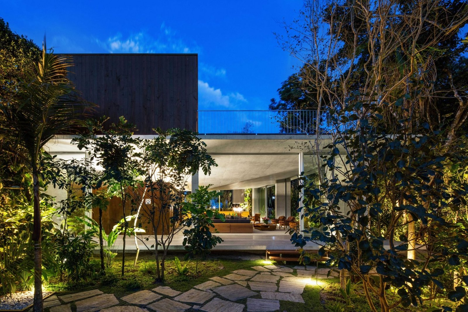 Outdoor, Front Yard, Trees, Walkways, and Hardscapes  Best Outdoor Front Yard Walkways Photos from A Concrete Home in Brazil Lets the Owners Practically Live in the Jungle
