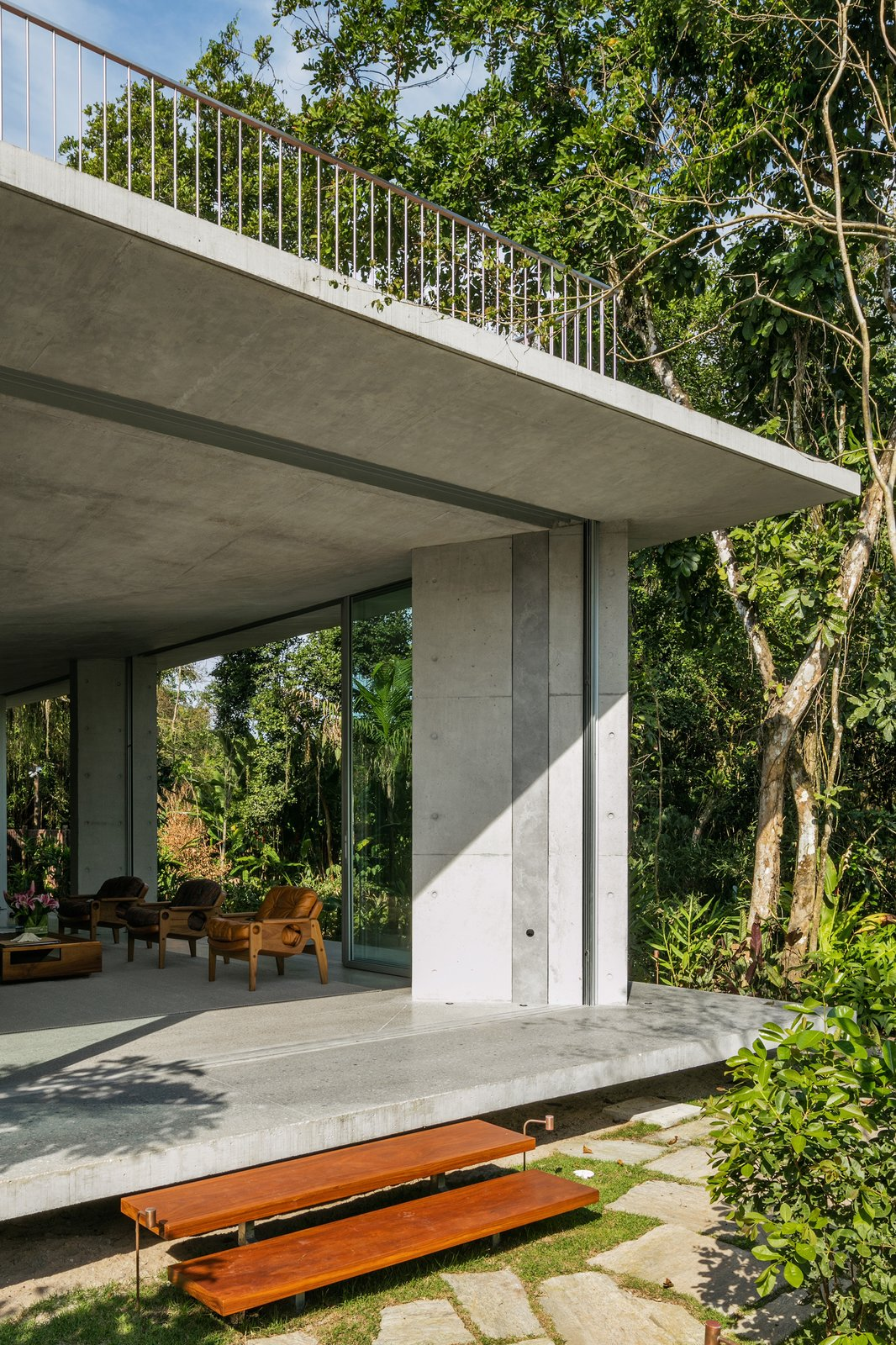 Outdoor, Trees, Front Yard, Walkways, Hardscapes, and Concrete  Best Outdoor Concrete Front Yard Photos from A Concrete Home in Brazil Lets the Owners Practically Live in the Jungle