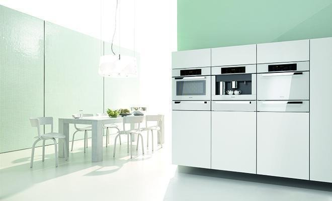 Kitchen, White Cabinet, Pendant Lighting, and Wall Oven  Photo 4 of 6 in 6 Integrated Appliances Sure to Make Your Kitchen Super Sleek