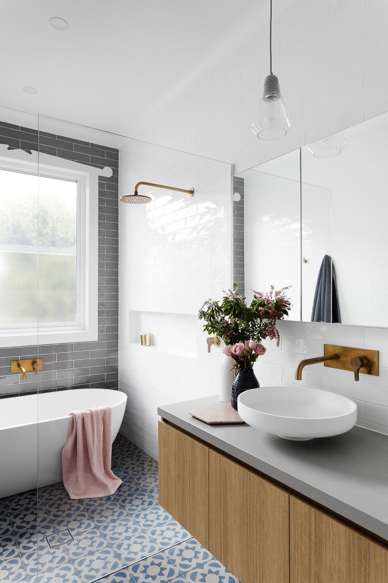 Bath Room, Vessel Sink, Subway Tile Wall, Ceramic Tile Floor, Freestanding Tub, Pendant Lighting, and Enclosed Shower  Photo 3 of 8 in 6 Insider Tips For Bathroom Design From the Experts