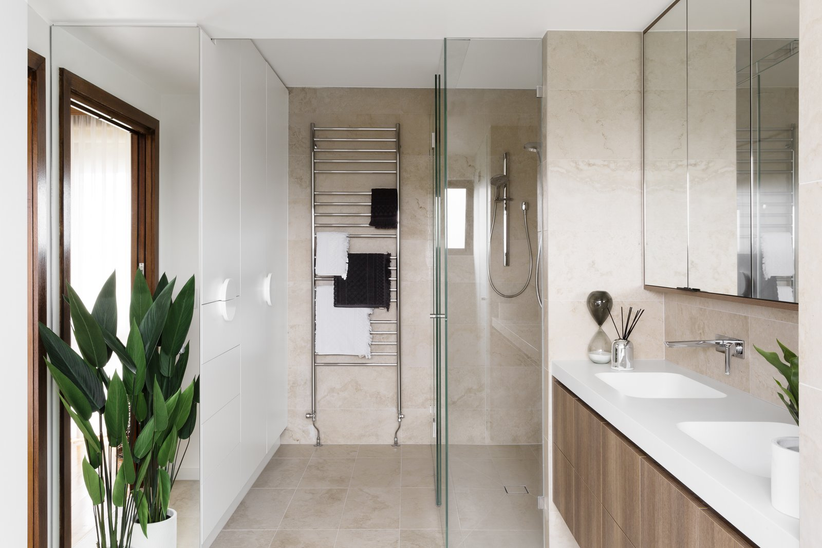 Bath Room, Engineered Quartz Counter, Enclosed Shower, Porcelain Tile Wall, Porcelain Tile Floor, and Undermount Sink  Photo 4 of 8 in 6 Insider Tips For Bathroom Design From the Experts