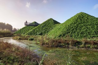 When Rotterdam-based firm Studio Marco Vermeulen renovated the Biesbosch Museum in the wetlands of De Biesbosch National Park, they added green roofs to the hexagonal pyramids of the original building to help it blend in with its surroundings.