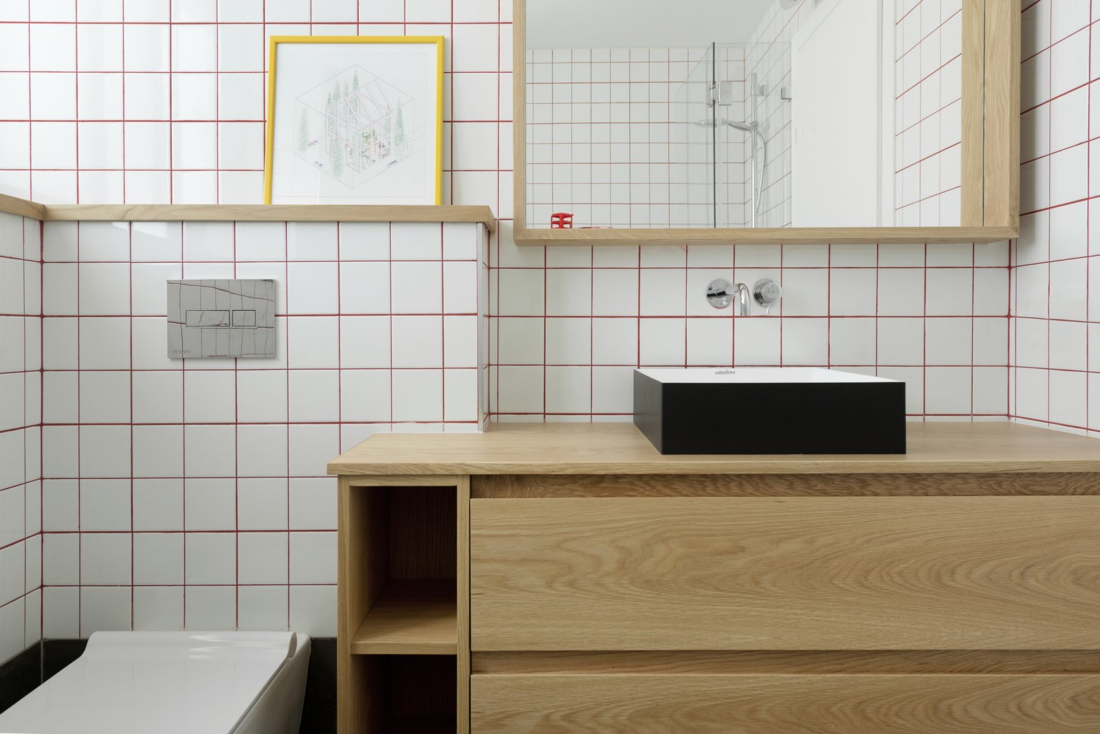 Bath Room, Vessel Sink, One Piece Toilet, Wood Counter, and Subway Tile Wall  Photo 9 of 14 in Graphic Design Guides an Apartment Renovation in Tel Aviv
